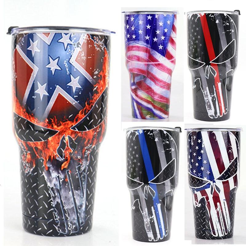 Swig Coffee Mugs Skull Thermos Travel Mug 30oz Vacuum Flask Stainless Steel Bottle For Water Tea Beer Swig Wine Cup Outdoor Car|Mugs|   - title=