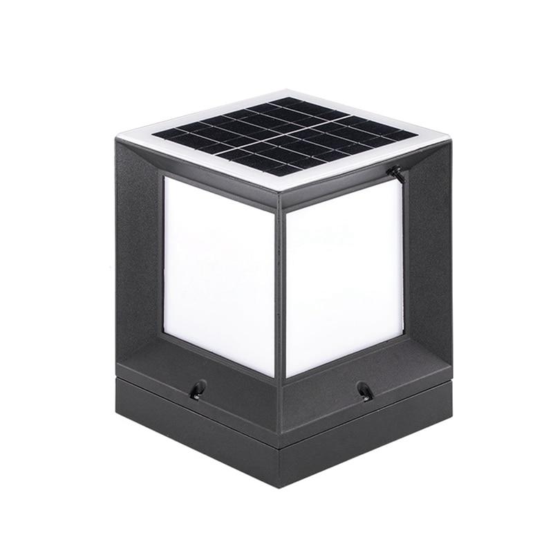 Lampe de colonne solaire chaude en aluminium moulé sous pression sans fil étanche bicolore Led colonne lampe de tête lampe de colonne extérieure de jardin 2