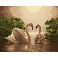 GATYZTORY Zero Basis DIY Painting By Numbers HandPainted Oil Painting Swan Animals Picture Colouring Wall Decor Gift Custom