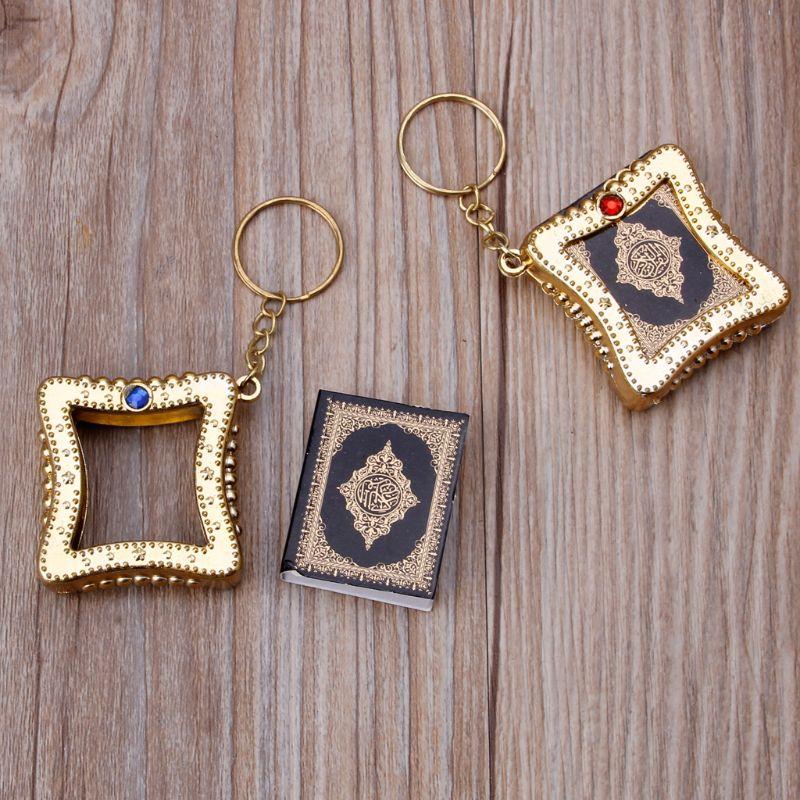 Image 5 - Fashion Keychain Mini Ark Quran Book Koran Pendant Muslim Keychain Bag Purse Car Decor JewelryKey Chains