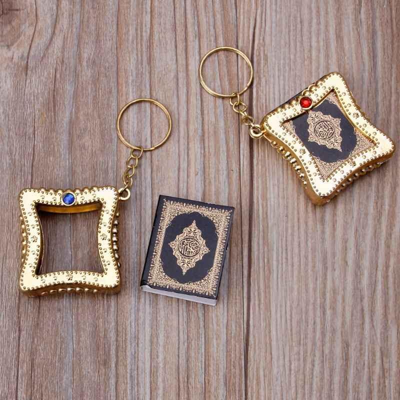 Mode Sleutelhanger Mini Ark Koran Boek Koran Hanger Moslim Sleutelhanger Bag Purse Auto Decor Sieraden