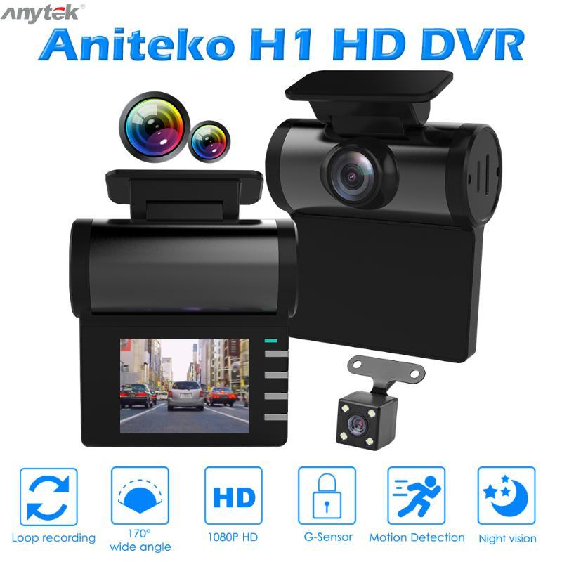 Anytek H1 Dashcam   Full HD 1080P voiture DVR tableau de bord, caméra à faible luminosité et Vision nocturne avec vue arrière, caméra écran IPS 2.0 pouces