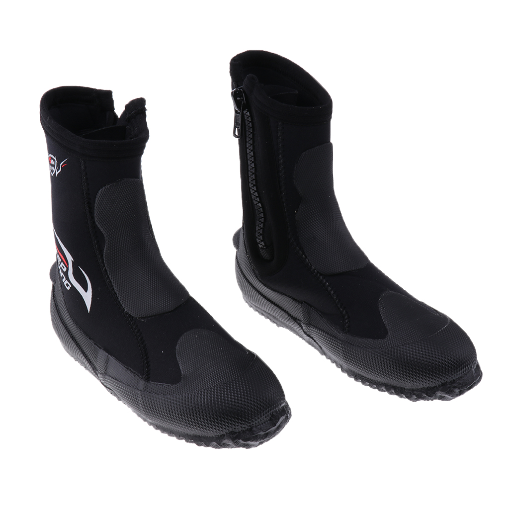 5mm Super Stretch Zipper Hard Sole Scuba Dive Water Sports Surfing Snorkeling Booties Wetsuit Boots Black XS -3XL