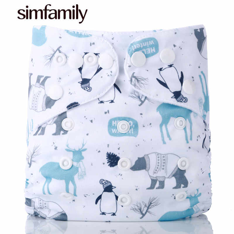 [simfamily]1PC Reusable Waterproof digital printed baby Cloth Diaper One Size Pocket baby nappies wholesale price fit for 3-15kg
