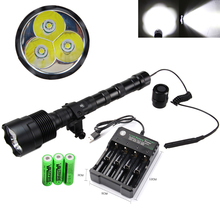 6000 lumens Hunting Light High Powerful 3*T6 LED Tactical Flashlight+3*18650 Battery+Remote Pressure Switch+Scope Mount+Charger
