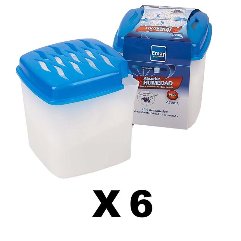 PACK 6 Units 7009-Absorbing Humidity 750 Ml. Capacity Open