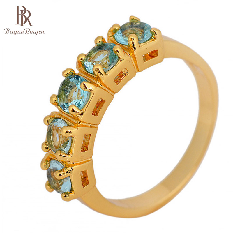 Bague Ringen Vintage 925 Sterling Silver Ring Gold Color Rings Aquamarine Ziron Gemstone Jewerly Silver Ring Anniversary Party