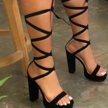 2020 Women's High Heel Sandals Cross-Strap Summer Outside Shoes