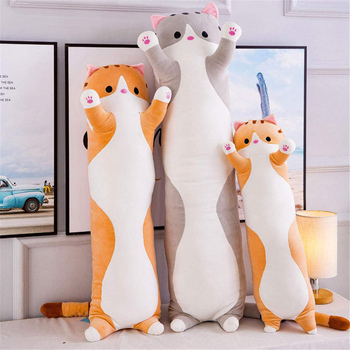 Cute Soft Long Cat Boyfriend Pillow Plush Toys Stuffed Pause Office Nap Sleep Pillow Cushion Gift Doll for Kids Girls image