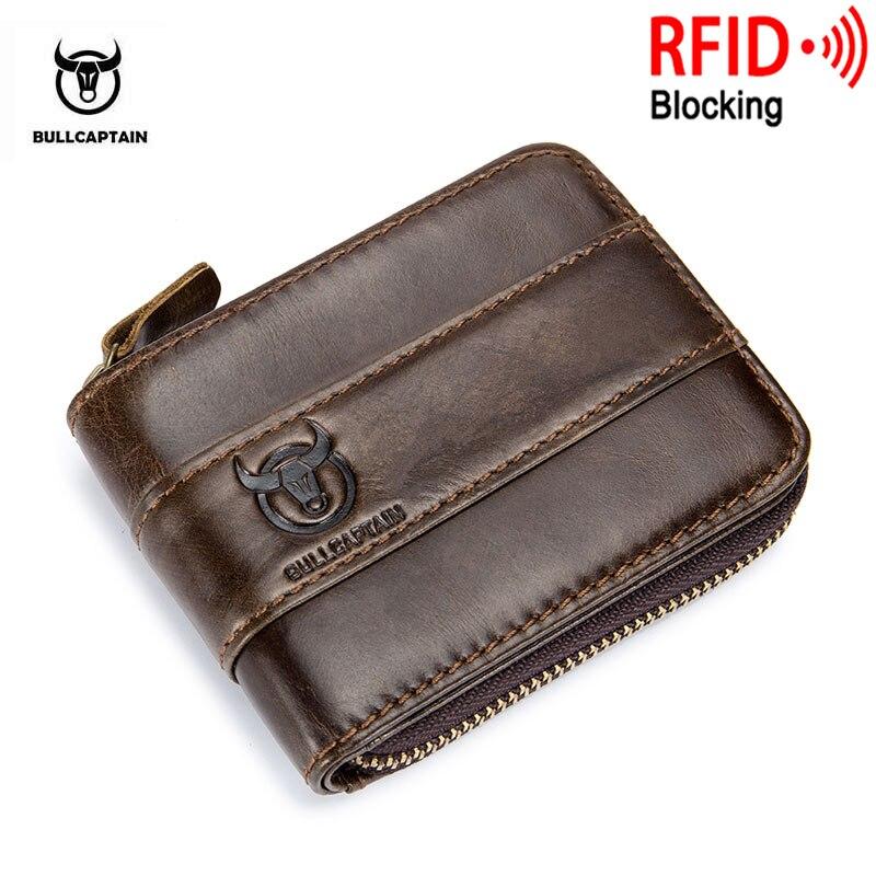 BULLCAPTAIN Neue Ankunft Männlichen RFID leder brieftasche Männer Brieftasche Rindsleder Geldbörse Dünne Designer Marke Brieftasche Billetera para hombres