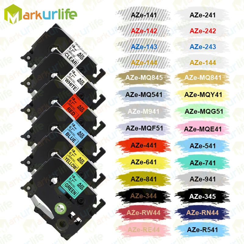 Multicolor Compatible Laminated Tze 241 Tze641 18mm Black On White Tape Tze-141 Tz-241 For Brother P-touch Printer TZe-241