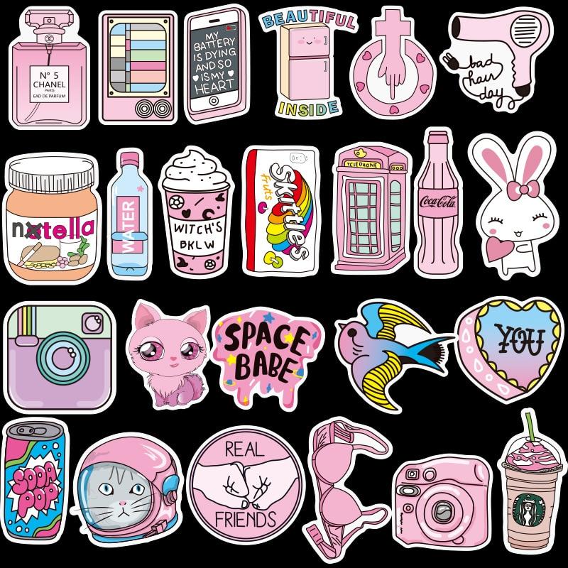 50 /103Pcs PVC Waterproof Vsco Girls Kawaii Pink Fun Sticker Toys Luggage Stickers for Moto Car & Suitcase Cool Fashion Stickers