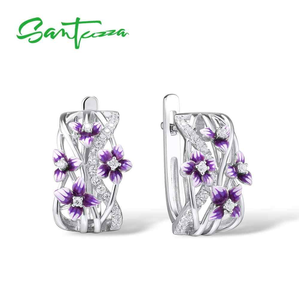 SANTUZZA כסף עגילים לנשים אמיתי 925 כסף סטרלינג עדין מקסים סגול פרח תכשיטים בעבודת יד אמייל