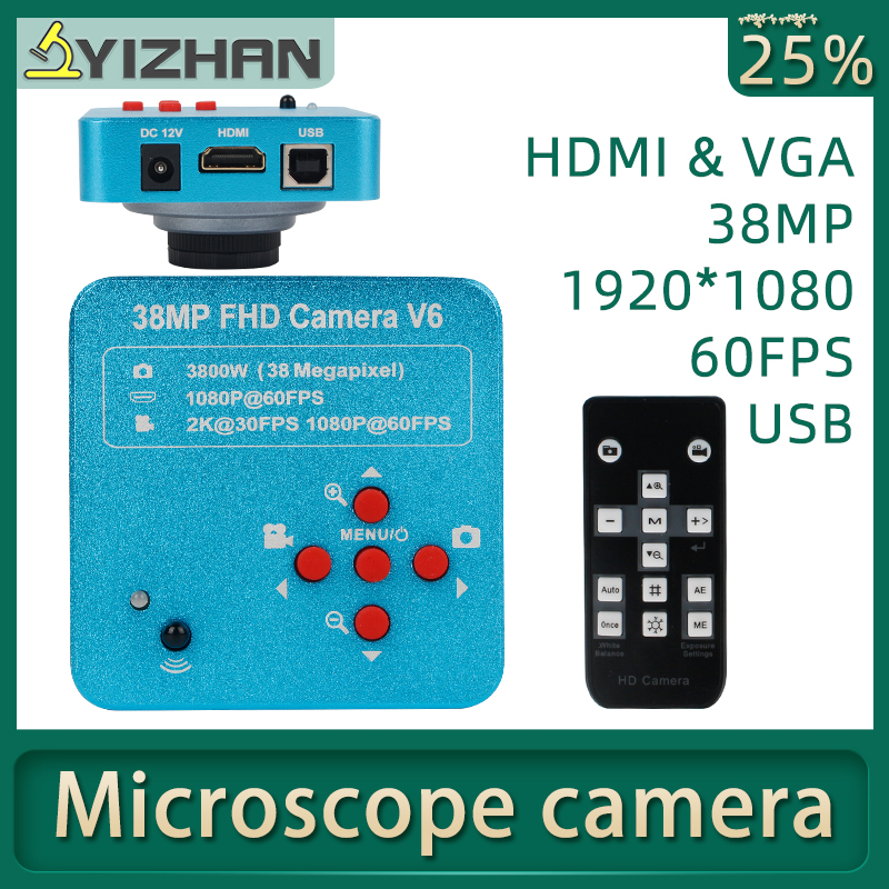 38MP HDMI VGA USB Industrial Electronic Digital Laboratory Microscope Camera Biological Stereo C-mount Camera Soldering Repair