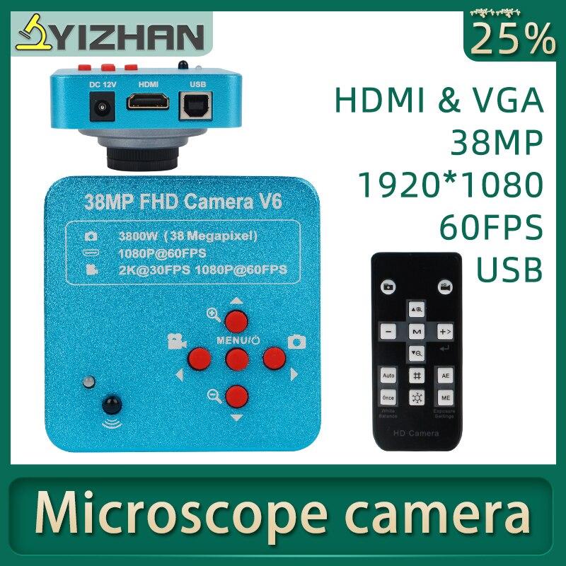 38MP HDMI VGA USB Industrial Electronic Digital Laboratory Microscope Camera Biological Stereo C-mount Camera Soldering Repair