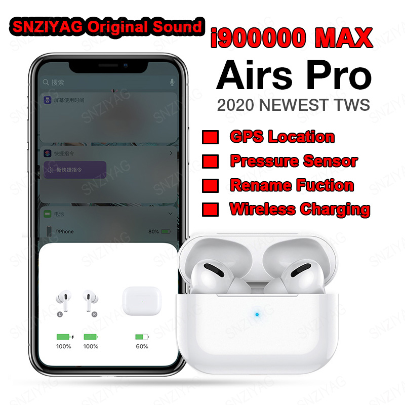 I900000 MAX 1:1 Air 3 TWS Bluetooth Earphones Earbuds Pressure Sensor Wireless Earphone Pk H1 Chip  I9000 Tws I90000 PRO I50000