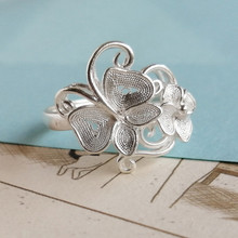 Butterfly 999 Sterling Silver Rings For Women Engagement Ring Flower Adjustable Handmade Luxury Jewelry Boho Ethnic Miao