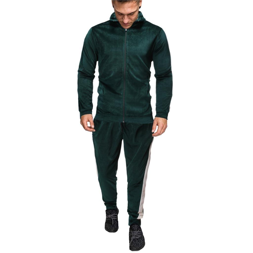 Shujin New Men's Sportswear Set Spring Autumn Men Clothes 2 Piece Sets Sports Suit Jacket Pant Sweatsuit Male Striped Tracksuit