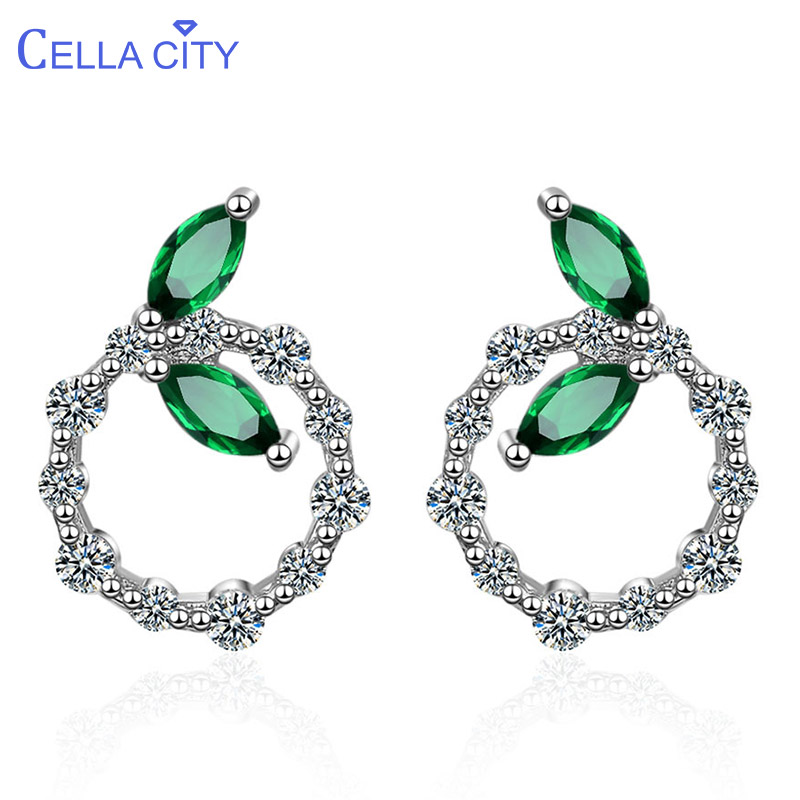 Cellacity Korean Fashion Style Simple Circular Ear Studs Silver 925 Jewelry Gemstones Earrings for Women Emerald Leaf Dating
