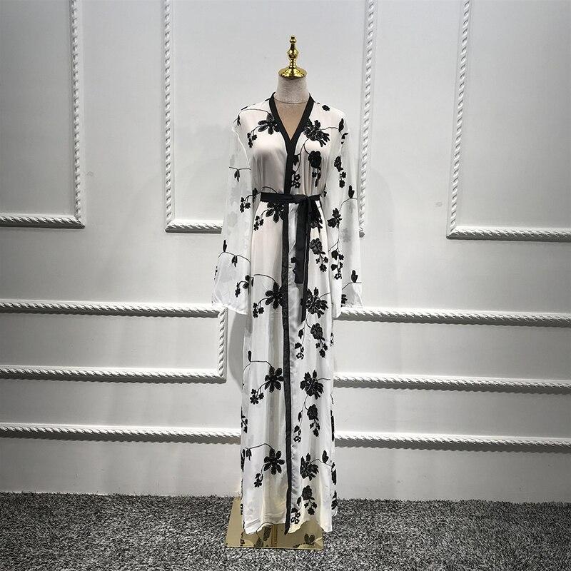 Chiffon Dubai Abaya Kimono Islam Muslim Hijab Dress Abayas For Women Kaftan Caftan Marocain Turkish Islamic