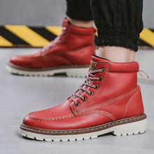 Новинка года; брендовые модные повседневные кожаные ботинки на шнуровке; студенческие ботинки с высоким берцем для мальчиков; мотоботы; зимние ботинки; A382