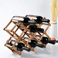 Wooden Diamond Shaped Wine Display Stand Foldable Bottle Holder Organizer Shelf Wine Rack