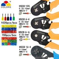 Hsc8 alicates de friso 10s 0.25-10mm2 hsc8 6-4/6-6 0.25-6mm2 tubo agulha tipo conjunto de mini ferramentas de fio de pressão