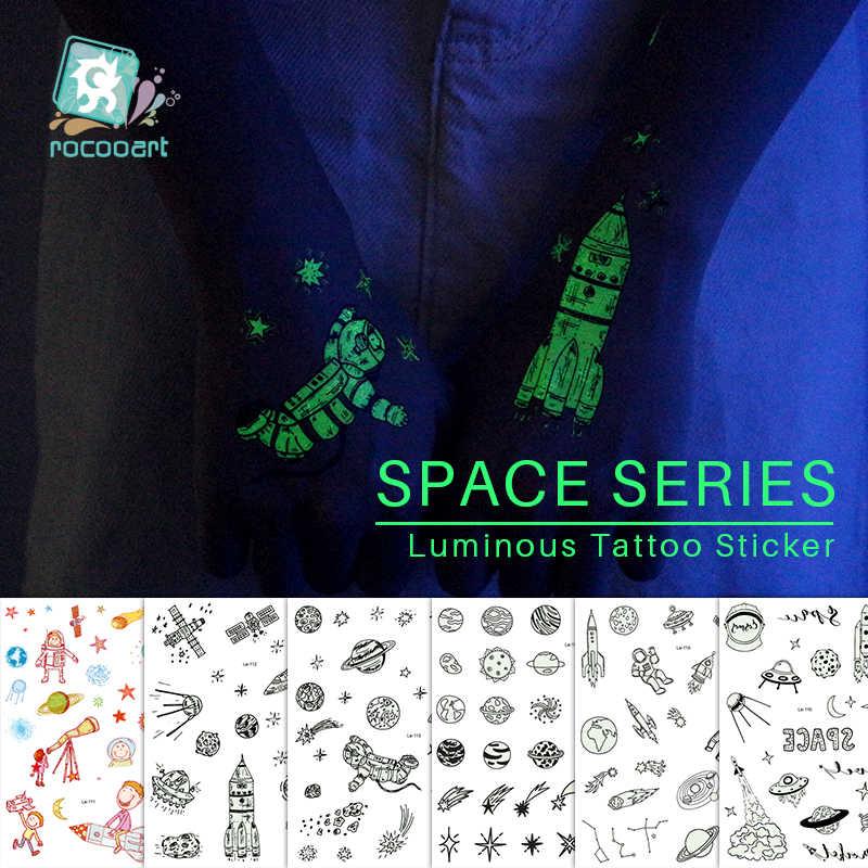 Rocooart uzay gemisi ışık dövme astronot gezegen sahte Taty UFO Tatouage karanlıkta parlayan su geçirmez geçici dövme etiket
