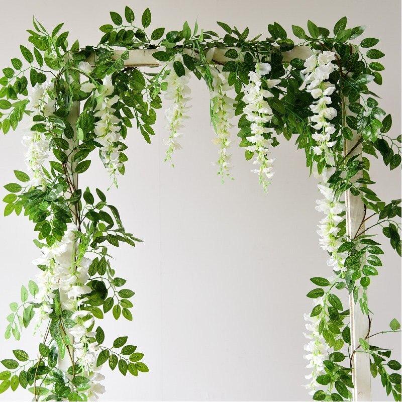 7 футов, 2 м, искусственная Глициния, виноградные Ротанговые растения, листва для украшения ароки, праздвечерние чное украшение, подвесной цв...
