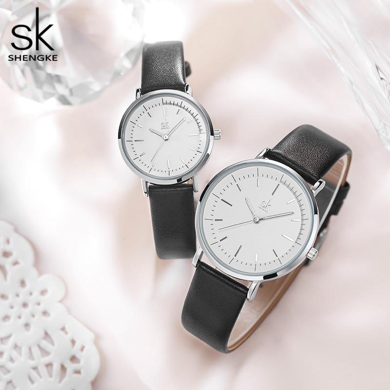 Shengke Couple Watches Women Men Leather Watch Overs Simple Waterproof Clock Couple Wrist Watch For Women Men