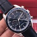Роскошные брендовые Новые Мужские автоматические механические часы MoonPhase Miyota стальные скоростные черные синие кожаные керамические часы Т...