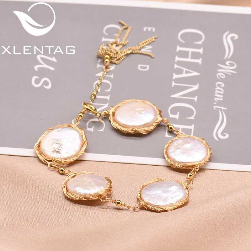 XlentAg Original Natural Fresh Water Baroque Flat Pearl Adjustable Tassel Bracelets For Women Gift Fine Jewelry Bileklik GB0147