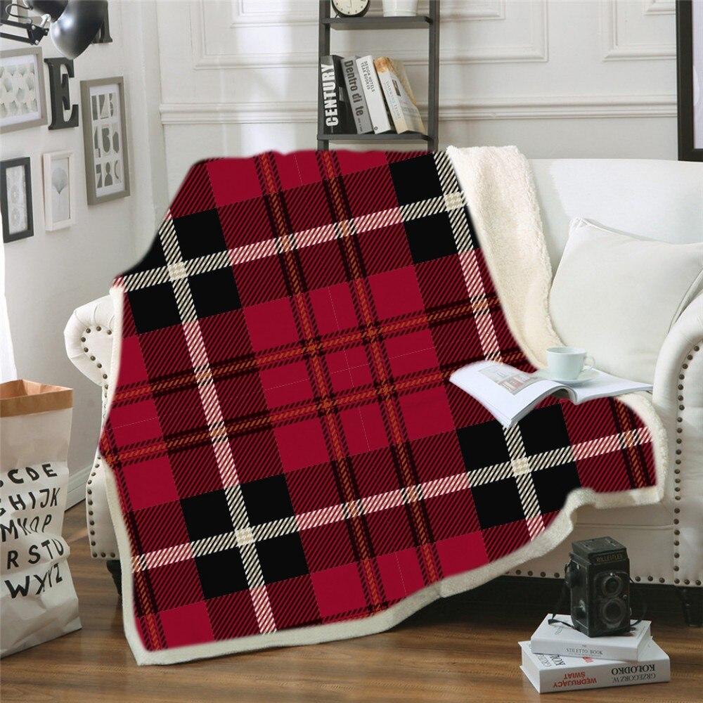 Геометрический дизайн, одеяло с капюшоном, 3d принт, цветное клетчатое шерстяное одеяло для взрослых, зимнее портативное теплое одеяло - 5