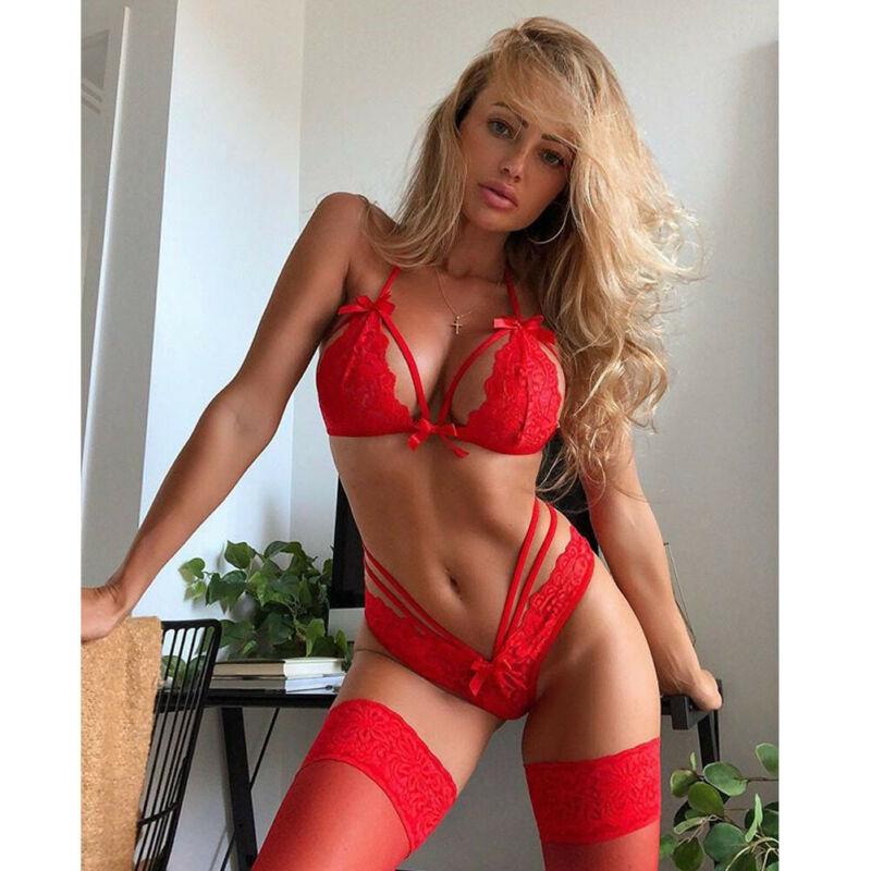 Hirigin Sexy Lingerie Women Underwear Babydoll Sleepwear Lace Strappy Bow Bra Thong G-string Set