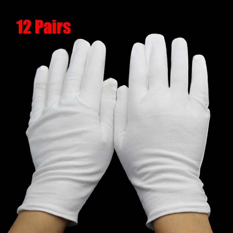 12 Pair Classic White Safety <font><b>Gloves</b></font> Men Summer/Autumn Etiquette Well Stretch <font><b>Gloves</b></font> Dance White Elastic <font><b>Jewelry</b></font> Safety <font><b>Gloves</b></font> image
