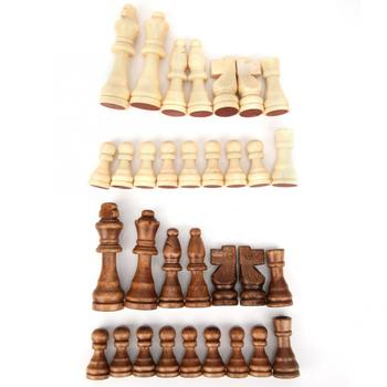 Buy Best 32pcs 55/77/91mm Wooden International Chess Piece Parent-Child Interaction Puzzle Toy Gift Children Chess Games Family Activity-