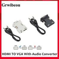 Con salida de Audio 3,5 convertidor de HDMI a VGA HDMI hembra a adaptador macho VGA Digital a analógico HD 1080P HD para PC ordenador portátil Tablet