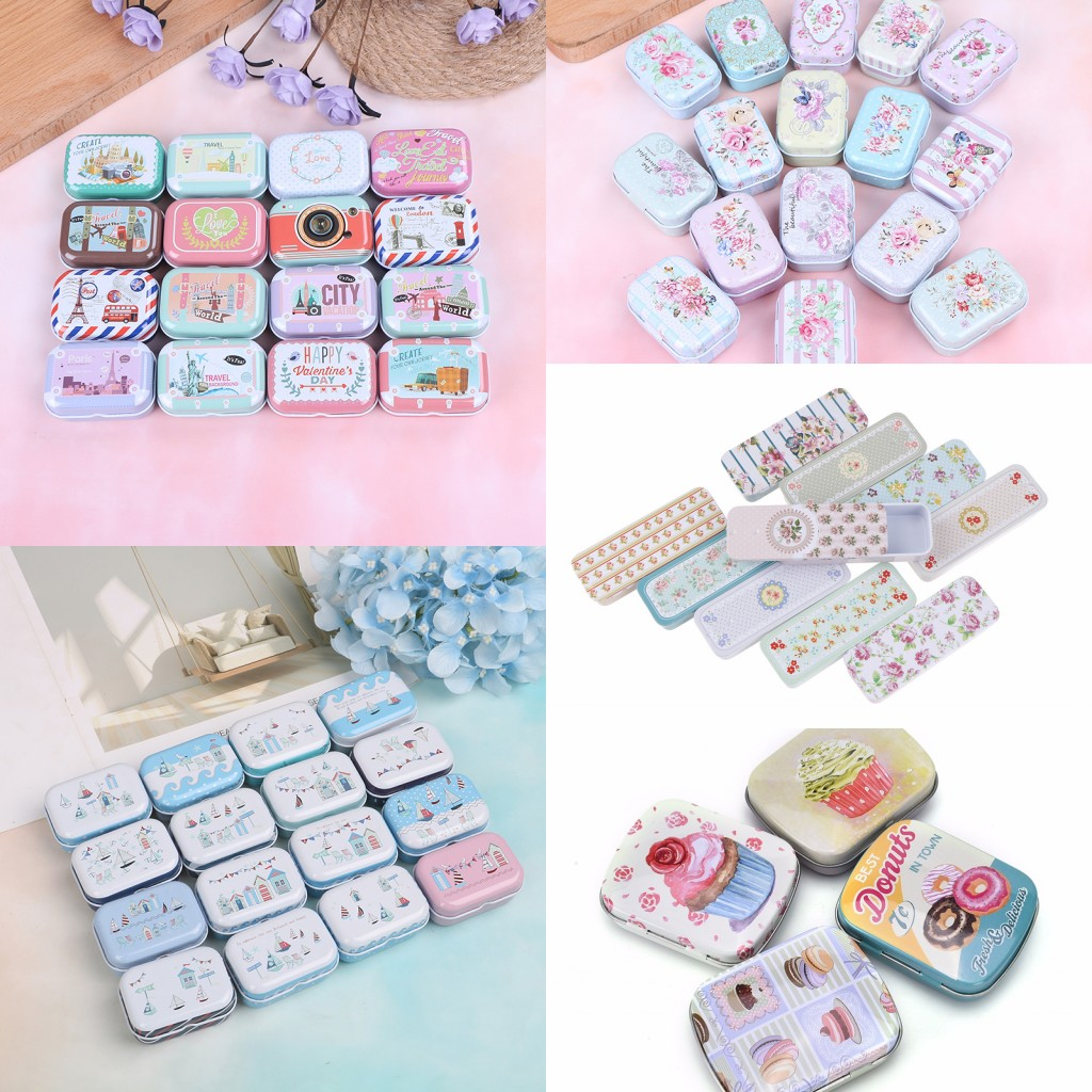 7style Colorful Mini Tin Pill Case Box Metal Packing Tin Jar Boxes Small Medicine Case Cans Coin Headphones Nail Travel Pill Box