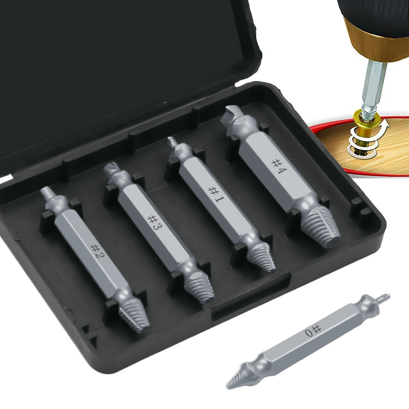 4Pcs Damaged Screw Extractor Drill Bits Guide Set Broken Damaged Bolt Remover Double Ended Damaged Screw Extractor Hand Tools