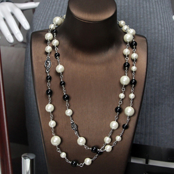 Women's Elegant  Faux Pearls Sweater Chain Long Pendant Necklace Jewelry