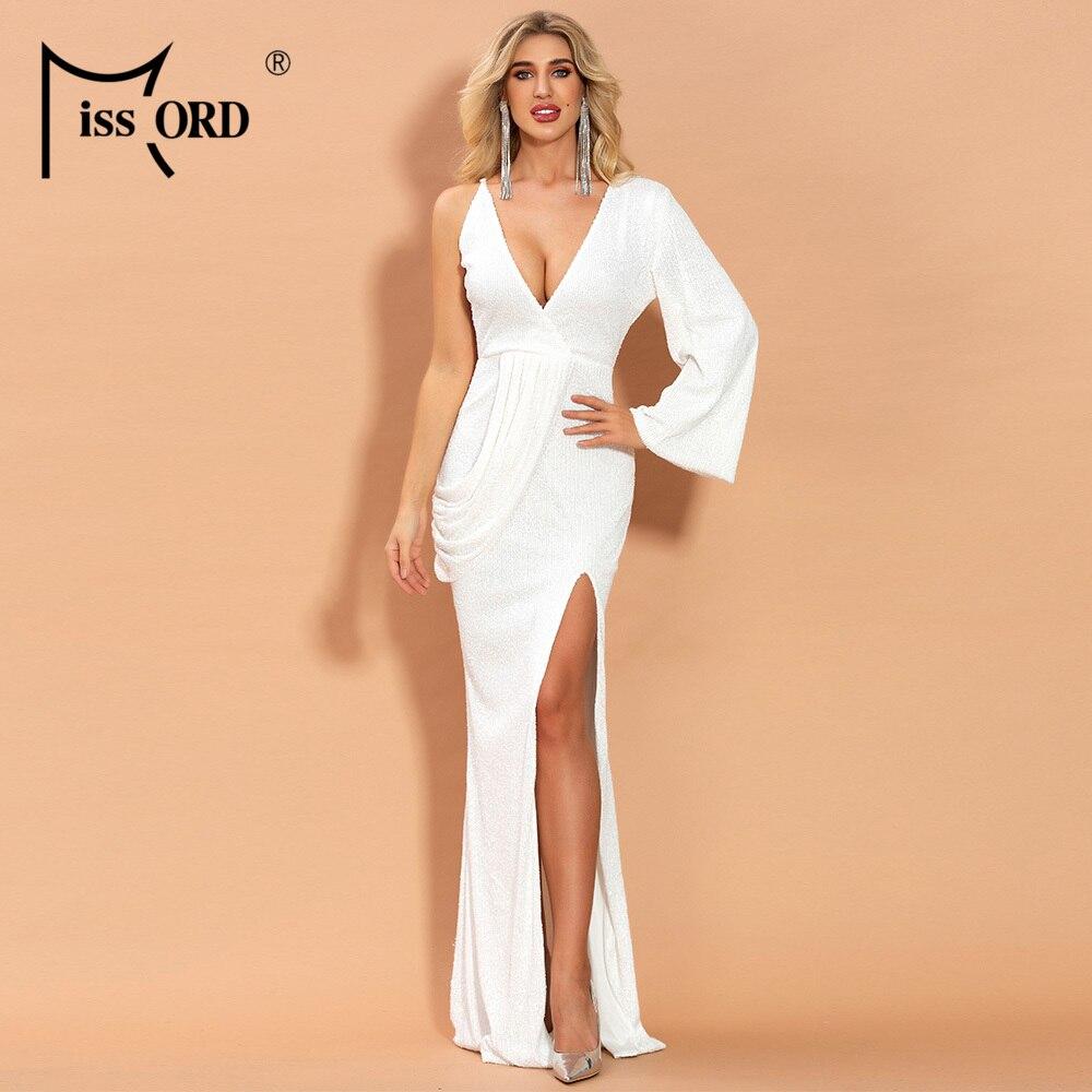 Missord 2020 Womem Deep V Off Shoulder Dresses Female Elegant Sequin Backless One Sleeve High Split Maxi Dress  FT20111