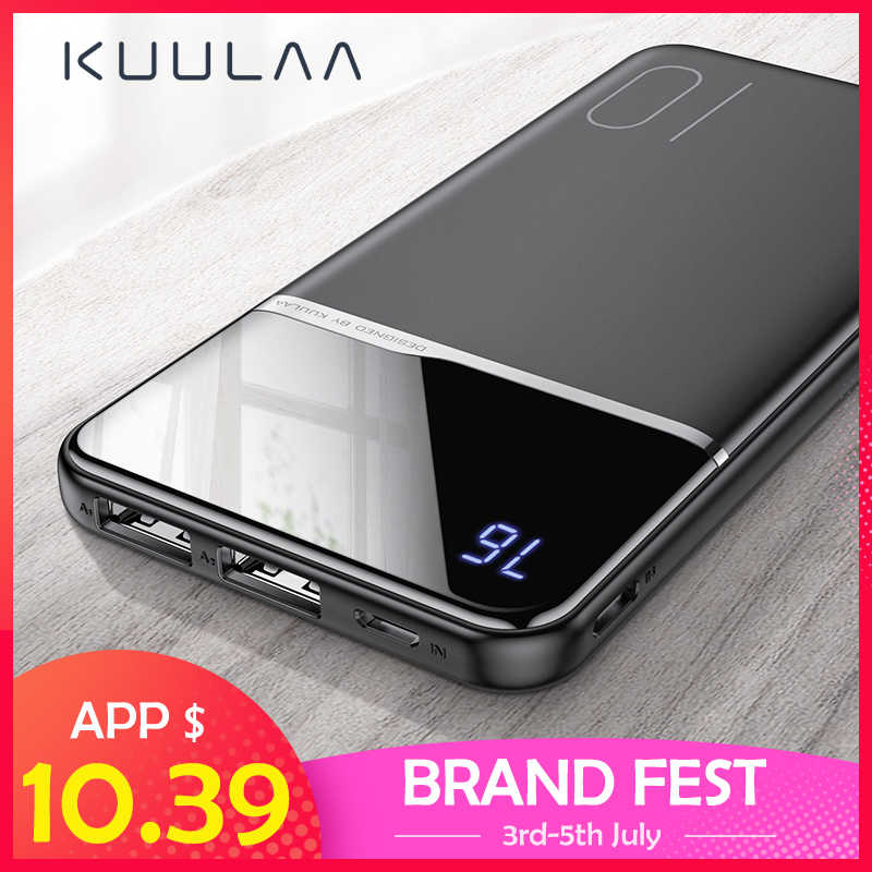 KUULAA Power Bank 10000 MAh Portable Pengisian PowerBank 10000 MAh USB PoverBank External Battery Charger untuk Xiaomi Mi 9 8 iPhone