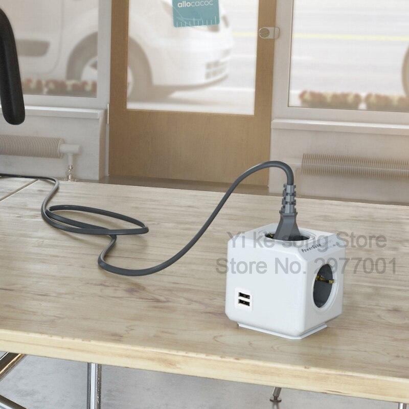 Image 2 - Allocacoc Powercube 4 AC EU Plug Power Strip Socket Travel Adapter 3680W Multiple 2 USB Port Portable Charger 5V 2.1A for phonesPlug With Socket   -