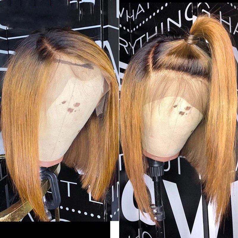 Brazilian Remy Ombre 1b/27 13x6 Lace Front Human Hair Wigs Highlight Short Lace Wigs Straight Bob Lace Front Wigs Pre Plucked