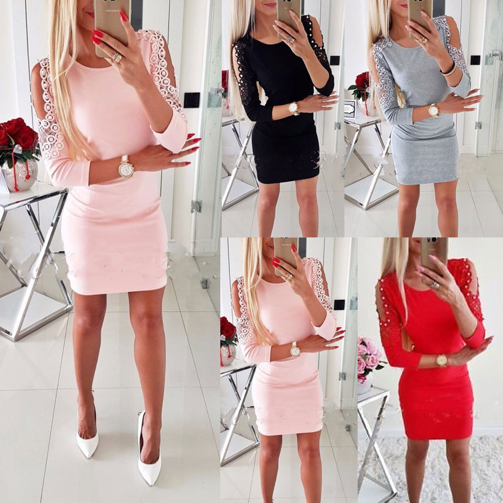 2020 New Women Sexy Cold Shoulder Beading Bodycon Dress Plus Size Ladies Evening Party Mini Dress