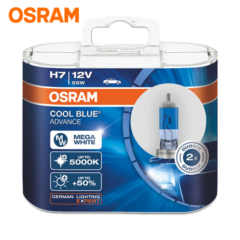 OSRAM Car Headlight Bulb 5000K Headlight 50% More Bright Halogen Lamps H1 H3 H4/9003 H7 H9 H11 9005/HB3 9006/HB4 Lamp Cool Blue