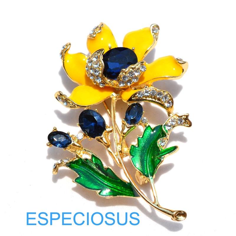 Элегантная булавка золотого цвета для женщин, подарки фиолетового цвета, цветок, стразы, брошь для груди, аксессуары, ювелирное изделие, окрашенная металлическая брошь, одежда - Окраска металла: Blue