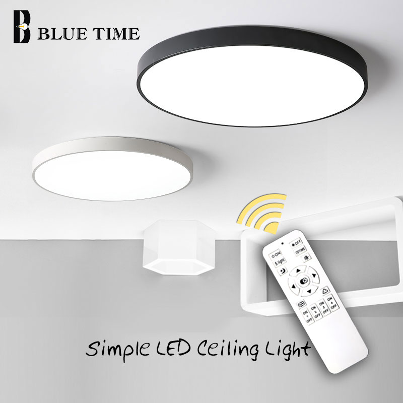 Modern LED avize oturma odası yatak odası için parlaklık yuvarlak tavan avize aydınlatma armatürü Lampara Techo siyah & beyaz lambalar