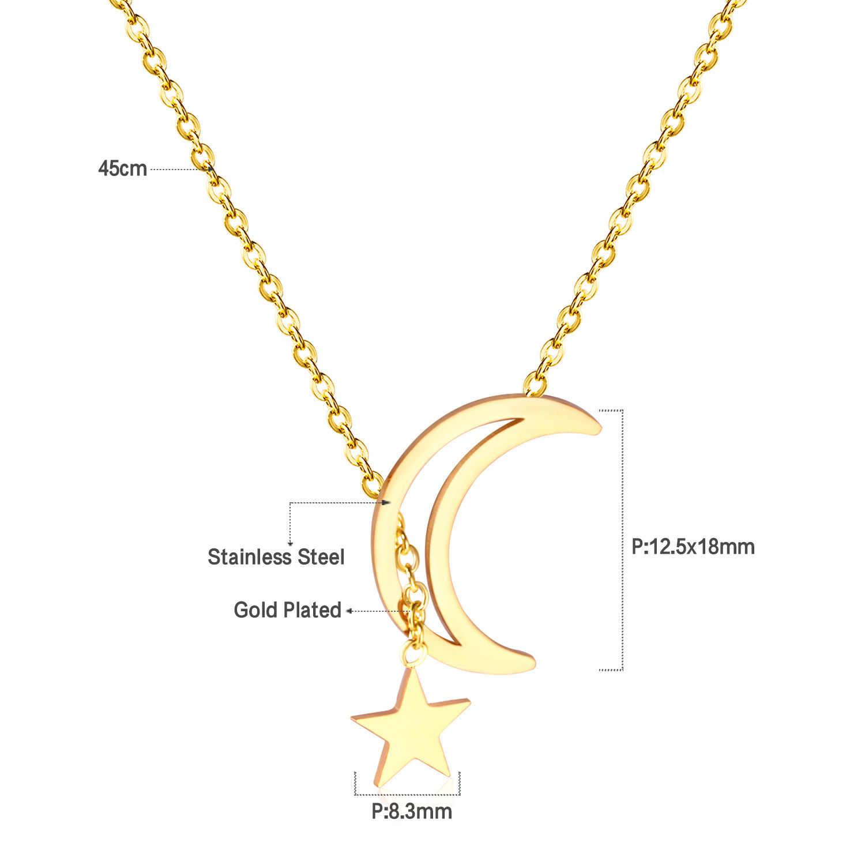 LUXUSTEEL Colares Para As Mulheres Na Moda Estilo da Cor do Ouro Colar de Pingente de Estrela Da Lua de Aço Inoxidável Gargantilha Colares de Presente de Natal