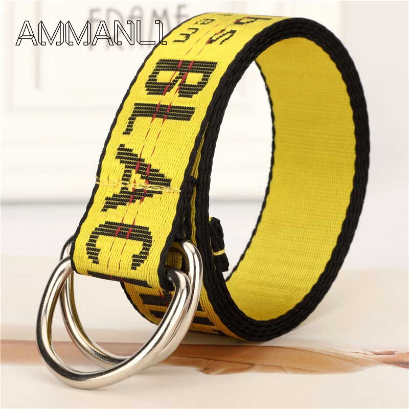 Fashion New Harajuku Unisex Canvas Belt Printing Letter D Ring Double Buckle High Quality Casual All-match Jeans Belt FB45